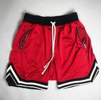 Fitness Shorts мужская сетка сплошной цвет полоса дизайн быстро сухой дышащий модный досуг весна лето осенние мышечные спорты бегущий баскетбол хип-хоп Haren брюки