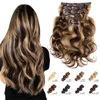 Vague corporelle Clip de cheveux humains dans les extensions Clip de couleur OMBER dans les extensions de cheveux Couleur naturelle Machine Brésilienne Made Remy Cheveux