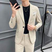 Erkek Takım Elbise Blazers 2021 İngiliz Tarzı Takım Elbise Erkekler 2 ADET Set Düğün Damat Smokin Ince Rahat Iş Sosyal Giysi Kostüm Homme Blazer P