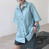 Frau gemütliche übergroße kurze Ärmeln Hemd Helle Farbe Frauenanzüge Blazer