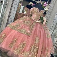 Elegant 2021 Pink Quinceanera DressesSweet 16 Dress With Gold Appliqued Beaded Corset lace-up Ball Gown Prom robe de princesse fille