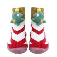 First Walkers Christmas Baby Shoes Toddler Non-slip Indoor Floor Slippers Baby's Outdoor Breathable Cotton Thick Woolen Shoe
