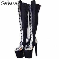 Cuisse haute Bottes longues Femmes Open Toe Toe Dacette Custom Effacer Extreme High Heel Heel High Heel Chaussures de plate-forme sur les bottes marron Bottines brunes Bottines Fly X1pq #