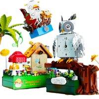 New Diy Clock Music Box Building Blocks Owl Pirate Ship Mushroom House Violin Bricks Collection Toys For Girls Xmas Gifts