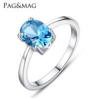 ジュエリーパラース本物の青いTopaz Ring Solitaire 925スターリングシルバーリング女性エンゲージメントリングシルバー925ジェムストンジュエリー1168 T2