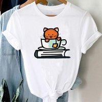 Camisetas Mujeres de dibujos animados gato impresión dulce linda ropa moda manga corta gráfico t camiseta top dama impresión femenino camiseta camiseta mujer