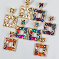 Square Drop Earrings Women Bling Dangles Fashion Designer Colorful Glass Drills Iced Out Jewelry Exaggerated Geometric Big Statement Street Party Earring Gifts
