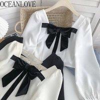 Autumn Blouses Square Neck Bow Puff Sleeve Sweet Short Ins Fashion Blusa Feminina Chic Women Shirts Korean Tops