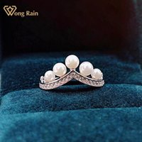 Cluster Rings Wong Rain Luxury 925 Sterling Silver Pearl Created Moissanite Gemstone Wedding Party Crown Ring For Women Fine Jewelry Gifts