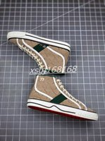 Gucci shoes Tenis 1977 Men's Canvas Casual Shoe Casual Designer de lujo Zapatos de mujer Malla raya Sole Sole Stretch Top High-Top Pareja zapatillas de deporte