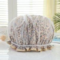 Mode Leopard Druck Duschkappe Erwachsene Doppel Umweltschutz Peva Wasserdichte Shampoo Caps Badezimmer Zubehör 9 Arten Owe5883