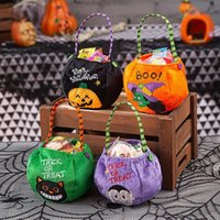 Halloween Party Kids Pumpkin Trick Or Treat Tote Bags Candy Bag Storage Bucket Portable Gift Basket DHA8845