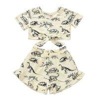 Meninas dinossauro tops + calças outfits verão 2020 crianças roupas boutique 1-4t meninas pequenas mangas curtas 2 pc set