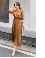 Chiffon Long Sleeve Pleated Dress Autumn Style Slim Waist Waist Was Thin Han Fan Celebrity Temperament Pleated Skirt