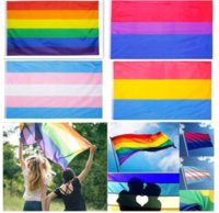 DHL Customize Rainbow Flag Banner 3x5FT 90x150cm Gay Pride Flags Polyester Banners Colorful LGBT Lesbian Parade Decoration 496