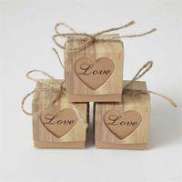 Gift Wrap Candy Romantic Heart Kraft Bag With Burlap Twine Chic Wedding Favors Box Supplies 5x5x5cm 1 69JU