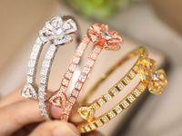 Alla moda squisita diamanti completi collegamenti aperti catena a quattro foglie trifoglio braccialetto cristalli braccialetti per S925 argento womengirls matrimonio gioielli di San Valentino regalo