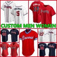 Custom 5 Freddie Freeman Atlanta 13 Ronald Acuna Jr.men Женщины Brave Jersey7 Dansby Swanson 1 Ozzie Albies Дейл Мерфи Шейн Грин Бейсбол