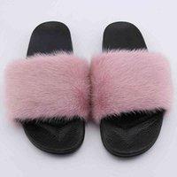 2021 المصنع مباشرة بيع سعر الفراء الشرائح مخصص المنك الفراء المنك النعال الصنادل أحذية للنساء والاطفال