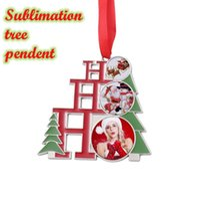 Amerikaanse voorraad Kerstbomen Paardents Decoraties Sublimatie Metalen Opknoping Ornamenten DIY Aangepaste Gepersonaliseerde Creative Decorating Kids Small Xmas Tree