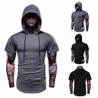 Men's T-Shirts 2021 Fake Two-Piece Stretch Fitness Hooded Long-sleeve T-Shirt Flower Arm Ice Silk Sleeve Face Mask Ninja Suit Top