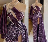 2021 Plus Size Arabic Aso Ebi Purple Sparkly Sexy Prom Dresses Beaded High Split Evening Formal Party Second Reception Gowns Dress ZJ260