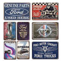 Rétro Ford Mustang Citroen Métal Plaque Vintage Voiture Poster Peinture Maison Garage Mur Mur Vieille Plaques Vieux Mural Sticker Décor