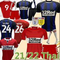 21/22 MiddlesBrough Soccer Jerseys 2021 2022 Ashley Michael Fletcher 11 Flint 24 Wing 26 Assombalonga 9 AKPOM 10 الرئيسية أطقم جورب مجموعات كاملة قمصان كرة القدم