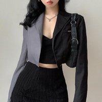 Women's Suits & Blazers Fashion Women Blazer Formal Black Grey Variegated Color Long Sleeve Cropped Suit Jacket Streetwear