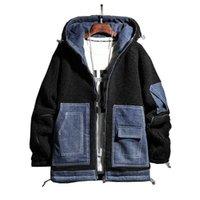 Men's Down & Parkas Mens Fashion Lambswool Denim Jacket Coats Winter Fleece Windbreaker Patchwork Hip Hop Streetwear Male Thick Warm Tops