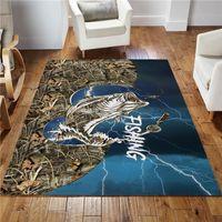 Carpets Bass Fishing Sport Blue Version Rug 3D Printed Carpet Mat For Living Room Doormat Flannel Print Bedroom Non-slip Floor 02