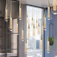 Customizable Post-Modern Crystal Glass led Pendant Lights Hanglamp Drop Light Restaurant Bar Pendant Lamp Staircase Lamps