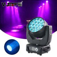 V-show usa lager 1pc aura 19x15w rgbw 4in1 stråltvätt med zoom LED DMX DJ Moving Head Light för Disco Bar