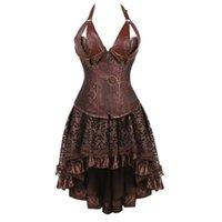 Plus Größe Frauen Kleid Vintage Gothic Lace Up Asymmetrisches PU-Leder mittelalterliche Steampunk Victorian Lolita Korsett Outfits Casual Kleider