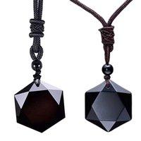 Pingente Colares Black Obsidian Stone Natural para Mulheres Homens Cúbicos Hexagram Sweater Colar Amuletos Talismãs Jóias