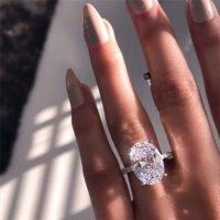Yeni Bayan Alyans Moda Gümüş Taş Nişan Yüzükler Takı Simüle Elmas Yüzük Düğün için DFF4584
