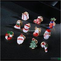 핀 브로치 에나멜 Christams 만화 산타 나무 눈사람 양말 브로치 옷깃 핀 여성 아이 패션 쥬얼리 윌과 모래 선물 J zwc7y