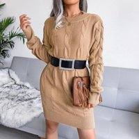 Women's Sweaters Autumn Winter Casual Solid Color O-neck Long Sleeve Loose Chunky Knitted Pullover Sweater Jumper Vintage Dress