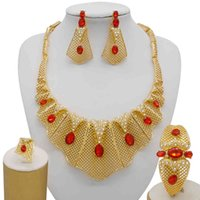 Jewelry Sets Fine Bridal Set Nigerian Wedding Dubai Gold for Women African Big Red Stone Necklace Earrings Jewellery