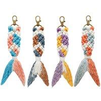 Creative New Colorful Mermaid Key Chain Handmade Tassel Woven School Bag Pendant 4 Colors Wholesale