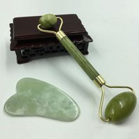 Nature Jade Massage Rollers Gua Sha Board Set Facial Massage Prevent Wrinkle Double Head Massager Full Body Scraping Board BH1737 TQQ