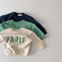 Hoodies & Sweatshirts Fall PARIS Letters Pullover Sweatshirt For Kids Boys Girls Sport Baby Shirts Casual Plus Velvet Children Clothes Korea