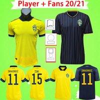 Jogador Fãs Versão 20 21 21 Suécia Jerseys National Team Ibrahimovic Forsberg Homens Soccer Jersey Larsson Ekdal Isak 2021 2022 Home Away Futebol Camiseta Adulto