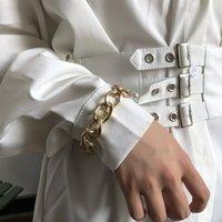 Link, Chain Fashion Women Bracelet Punk Bracelets For Woman European Trendy Hiphop Ladies Jewelry Elegant Gold Color Metal Pulseras