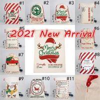 DHL 무료 새로운 2021 크리스마스 산타 자루 캔버스 코튼 가방 큰 무거운 Drawstring 선물 가방 맞춤 축제 파티 크리스마스 장식 Cy0022