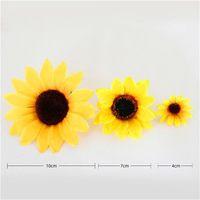 10 шт. 7 см оптом LAGRE шелковый подсолнечник искусственный цветок головка для скрапбукинга скрапбукинга фальшивая 524 v2