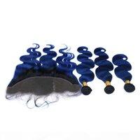 بيرو الأزرق الداكن أومبير لحمة الشعر البشري مع الدانتيل أمامي إغلاق 13x4 الجسم موجة # 1b الأزرق الداكن الجذر أومبير عذراء الشعر نسج حزم