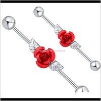 Stecker Tunnel Drop Lieferung 2021 Rote Rose mit Blättern Industrial Piercing Knorpel Barbells 14g Chirurgische Stahl-Ohrleiste Sexy Body Ohrring J
