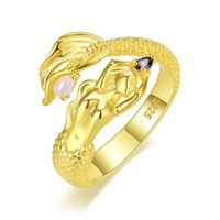 Cluster Rings 925 Sterling Silver Gold Color Moon Stone Mermaid Open Size Finger Adjustable Make For Women Fashion Jewelry