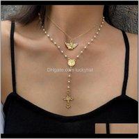 Collane vintage piccolo angelo croce pendente collana donna moda multistrato in oro maglione maglione regalo gioielli regalo Ogo01 MXCZH